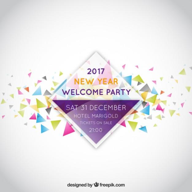 Vektörel Yeni Yıl Partisi Davetiye Tasarımı