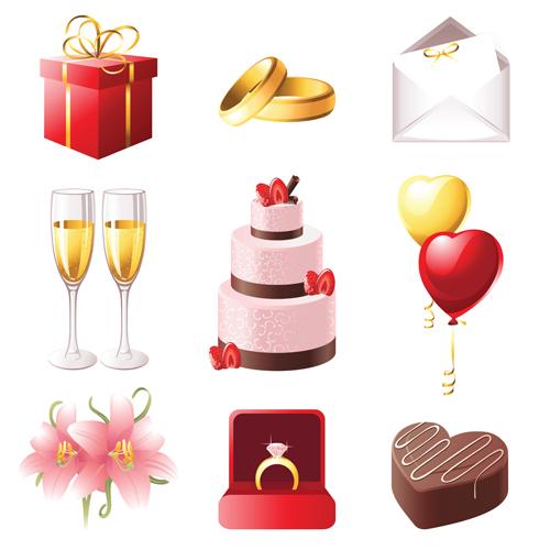 Vektörel Sevimli Düğün Objeleri Çizimi #2