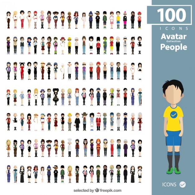 Vektörel 100 Adet Karakter Tasarımı