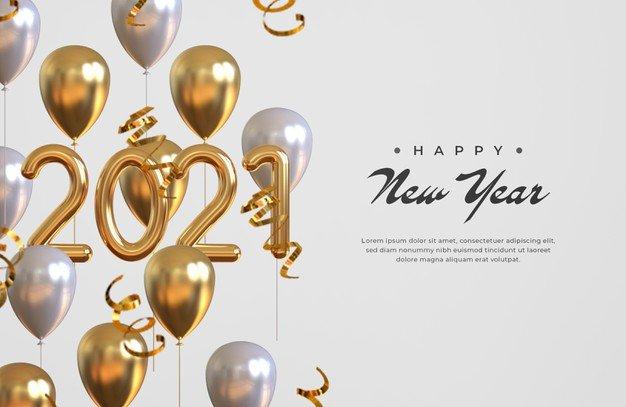 Vektörel 2021 Yılbaşı ve Balonlar