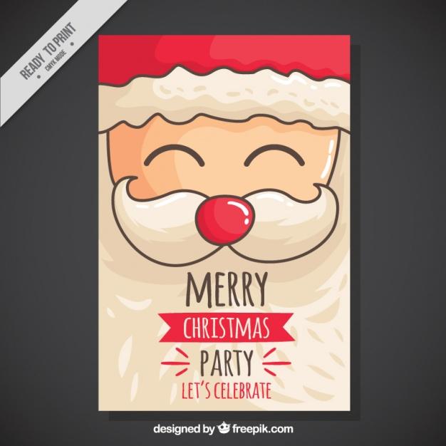 Vektörel El Çizimi Noel Baba Davetiye
