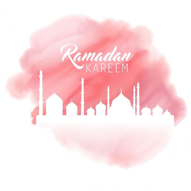 Vektörel Sulu Boya Ramazan-ı Şerif Arka Plan