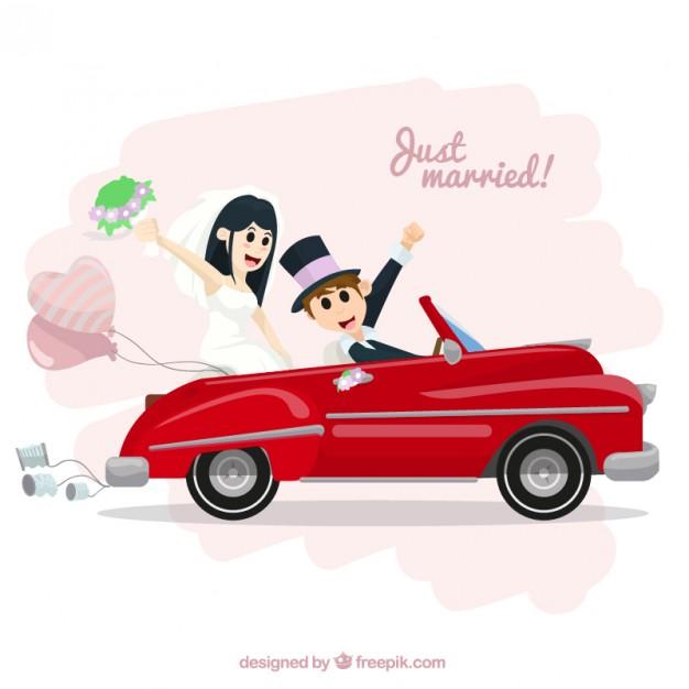 Vektörel Evlilik ve Kırmızı Araba