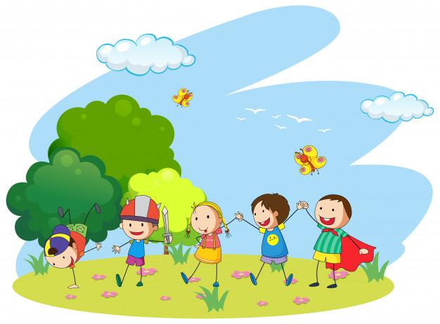 Vektörel Bahçede Oynayan Çocuklar