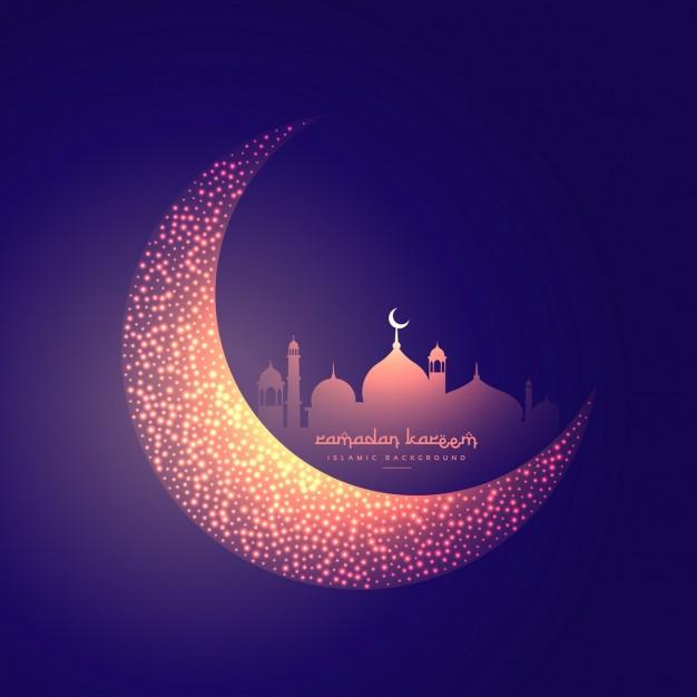 Vektörel Yaratıcı Ay ve Parlayan Cami Tasarımı