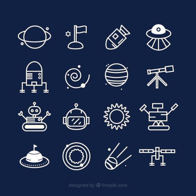 Cute space icons  Vector