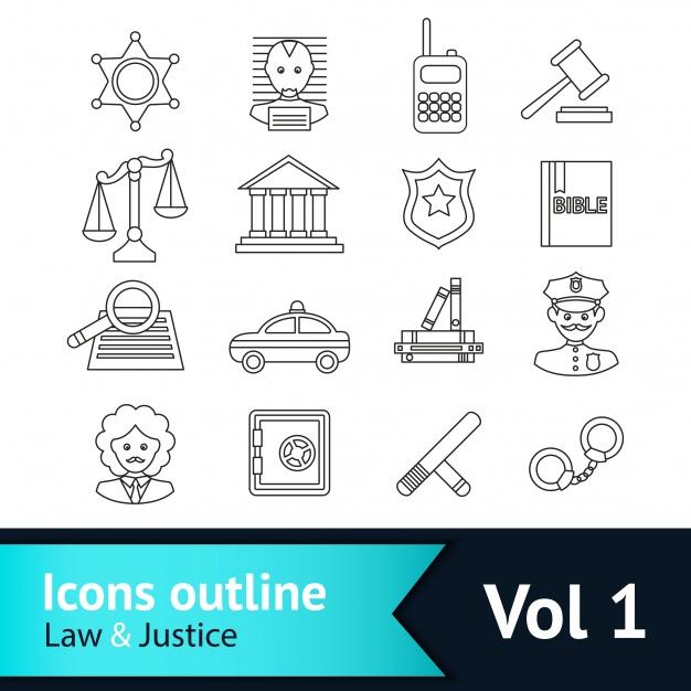 Vektörel Avukat ve Hukuk İkonları