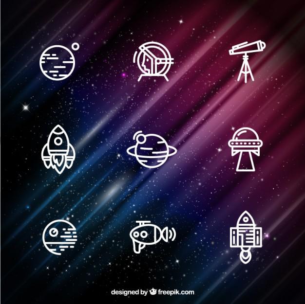 Vektörel Uzay İkonları