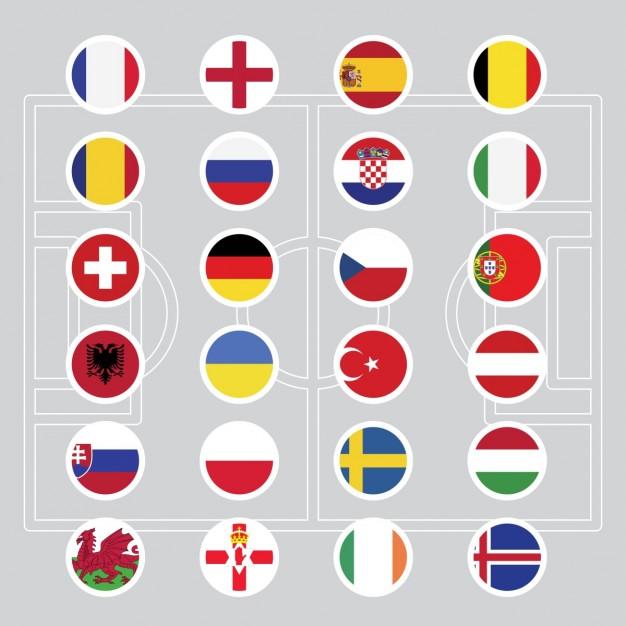 Vektörel Euro 2016 Ülke Bayrakları