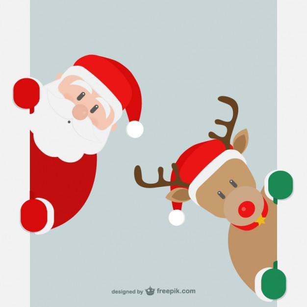Vektörel Noel Baba ve Geyik