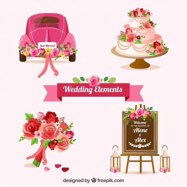 Vektörel Pembe Düğün Arabası