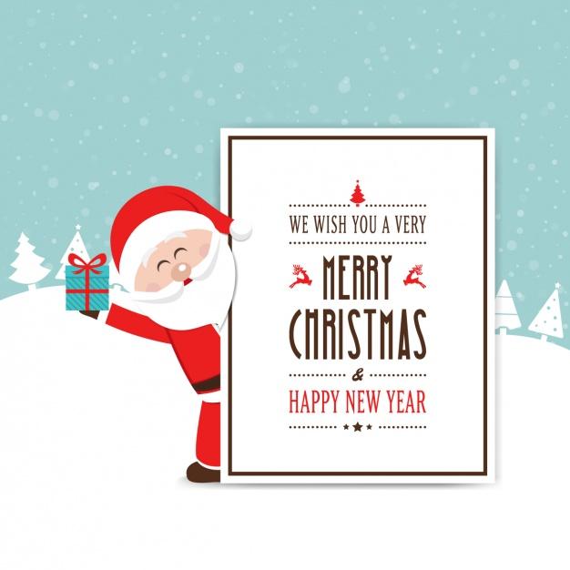 Vektörel Noel Baba Davetiye Çizimi