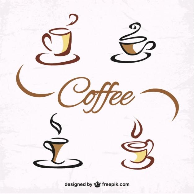 Vektörel El Çizimi Kahve Logoları