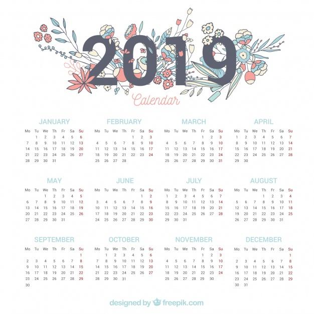 Vektörel 2019 Çiçekli Takvim