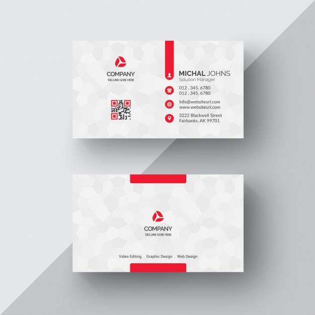 PSD Kırmızı Beyaz Modern Kartvizit Tasarımı