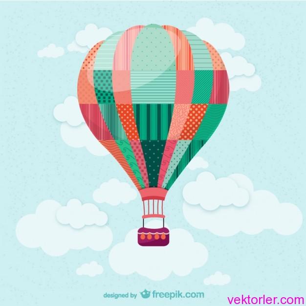 Vektörel Sıcak Uçan Balon