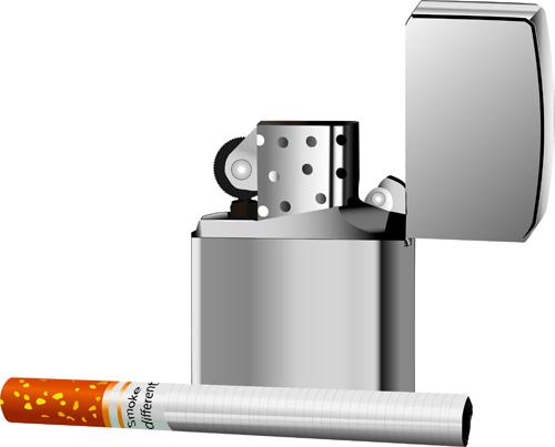 Vektörel Metal Çakmak ve Sigara