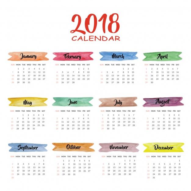 Vektörel Renkli 2018 Takvimi