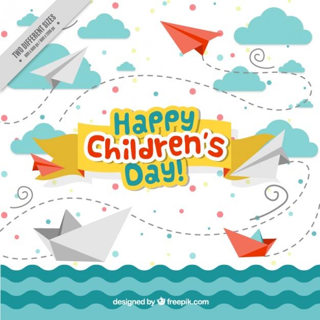 Vektörel Kağıt Uçak ve Gemi Çocuk Bayramı