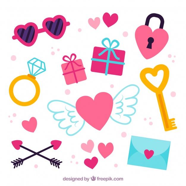 Vektörel Flat Sevgililer Günü İkonları