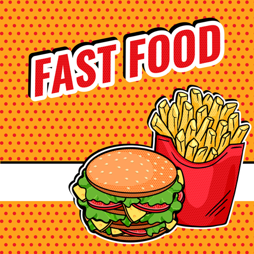 Vector Pop Art Fast Food design - tasty French Fries and Burger