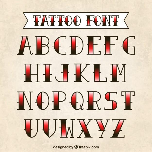 Vektörel Dövme Tipografik Fontlar