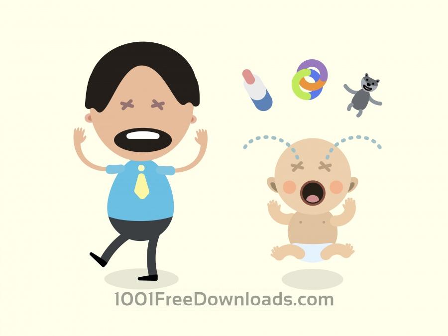 Vektörel Ağlayan Bebek ve Baba