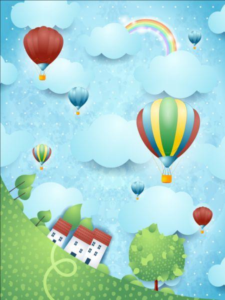 Vektörel Uçan Balonlar ve Köy