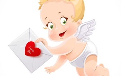 Cute little Cupid flies with a love letter isolated on a white b