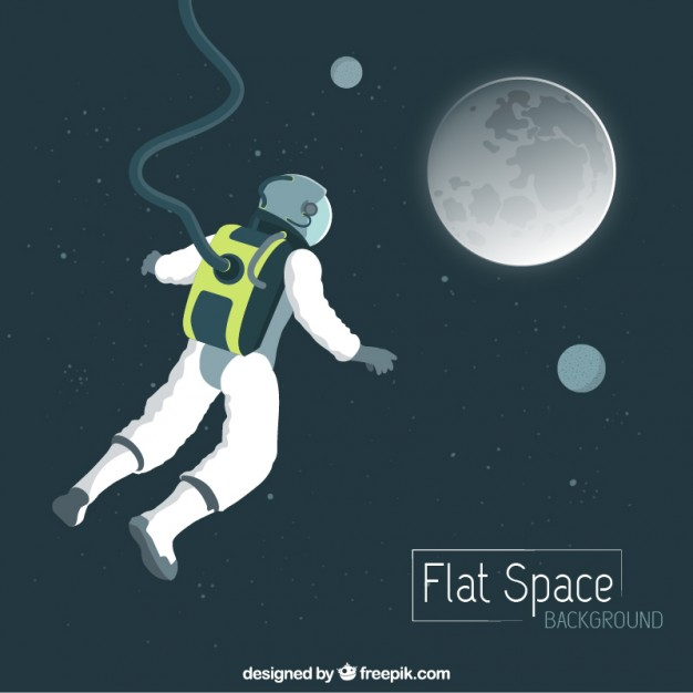 Vektörel Astronot ve Ay