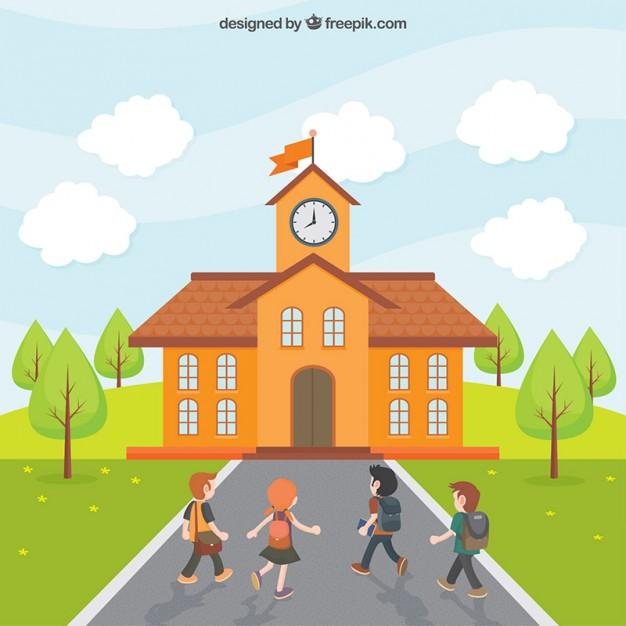 Vektörel Okula Giden Çocuklar