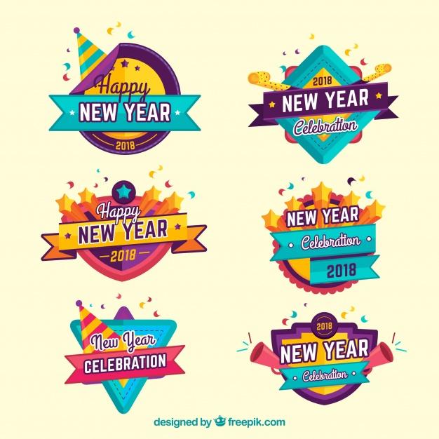 Vektörel Yeni Yıl Logo Seti