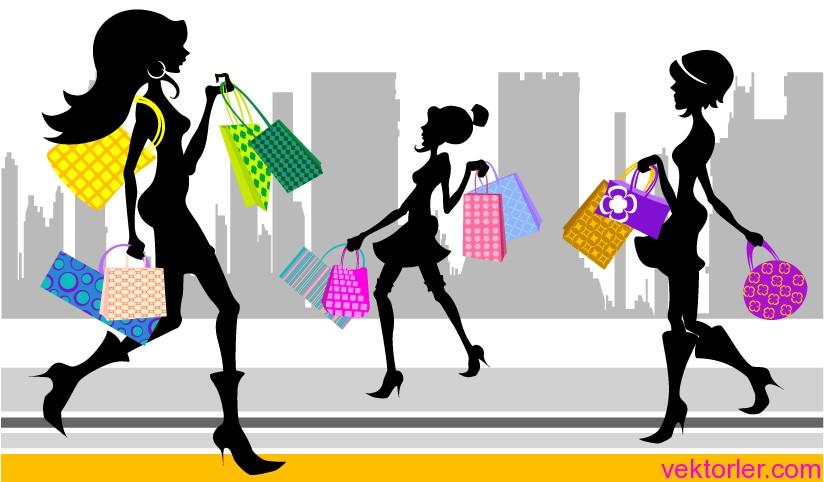 Vektörel Alışveriş Yapan Kızlar