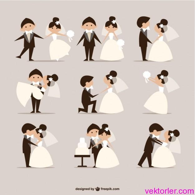Vektörel Düğün Gelin Damat