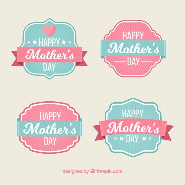 Vektörel Anneler Günü Etiket Tasarımı