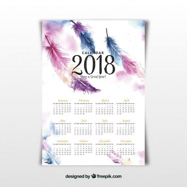 Vektörel 2018 Sulu Boya Takvim