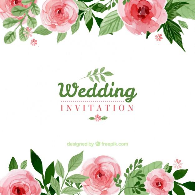 Vektörel Çiçekli Düğün Davetiyesi
