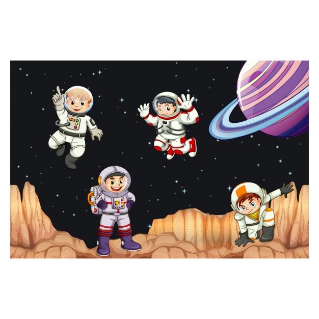 Vektörel Astronot Çocuklar