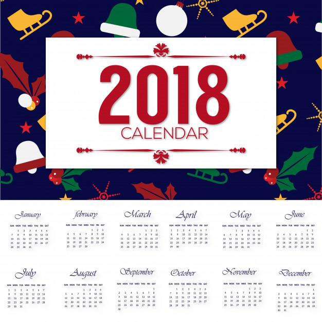 Vektörel 2018 Yılbaşı Takvim