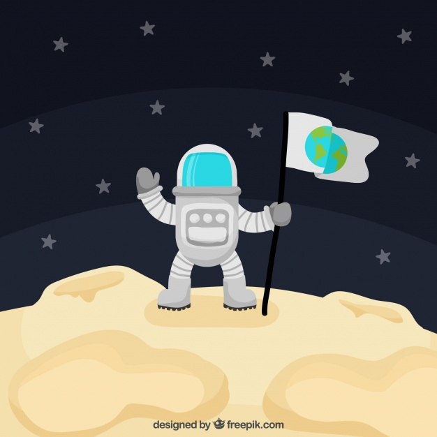 Vektörel Astronot ve Bayrak