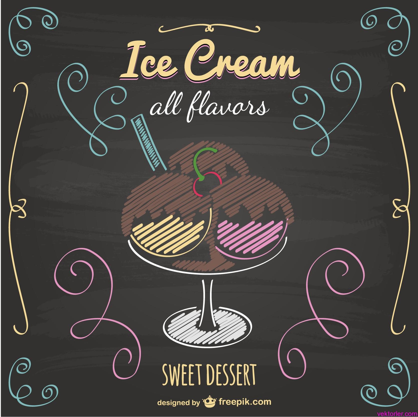 Vektörel Kara Tahtaya Çizilmiş Dondurma