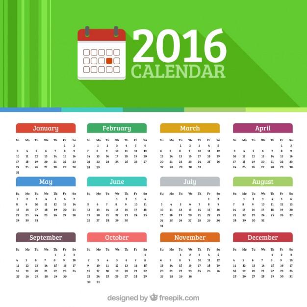 Vektörel Renkli 2016 Takvimi