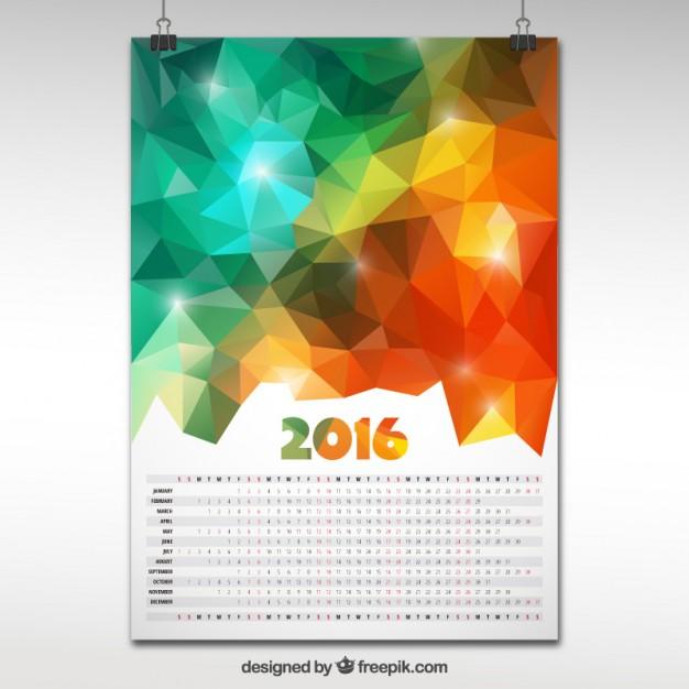 2016 calendar in polygonal design  Vector