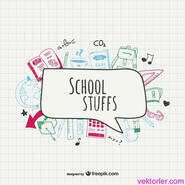 Vektörel Renkli Okul Eşyaları