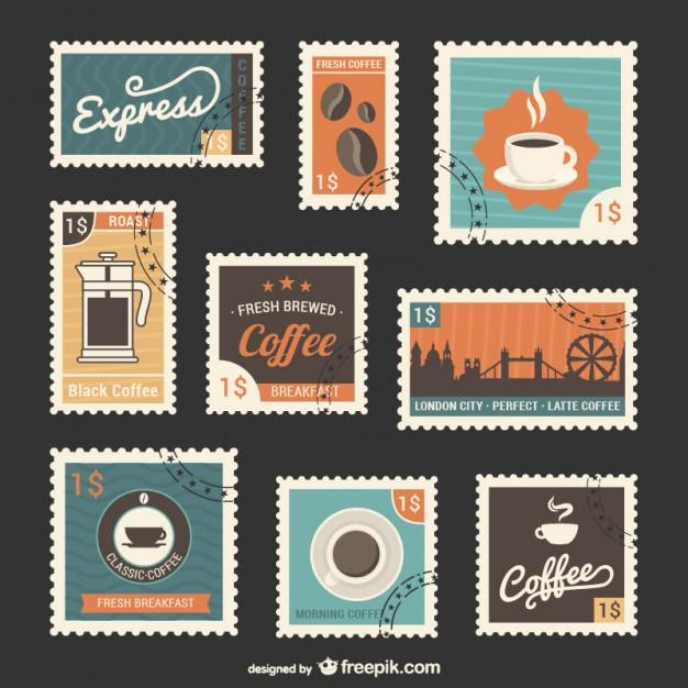 Vektörel Kahve Pul Tasarımları