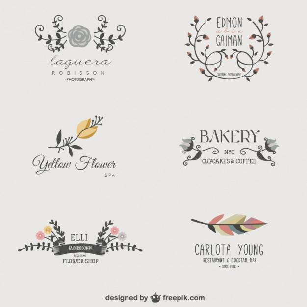 Vektörel Çiçekli İş Logoları
