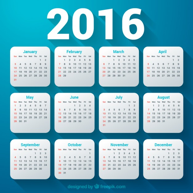Vektörel Mavi 2016 Takvimi
