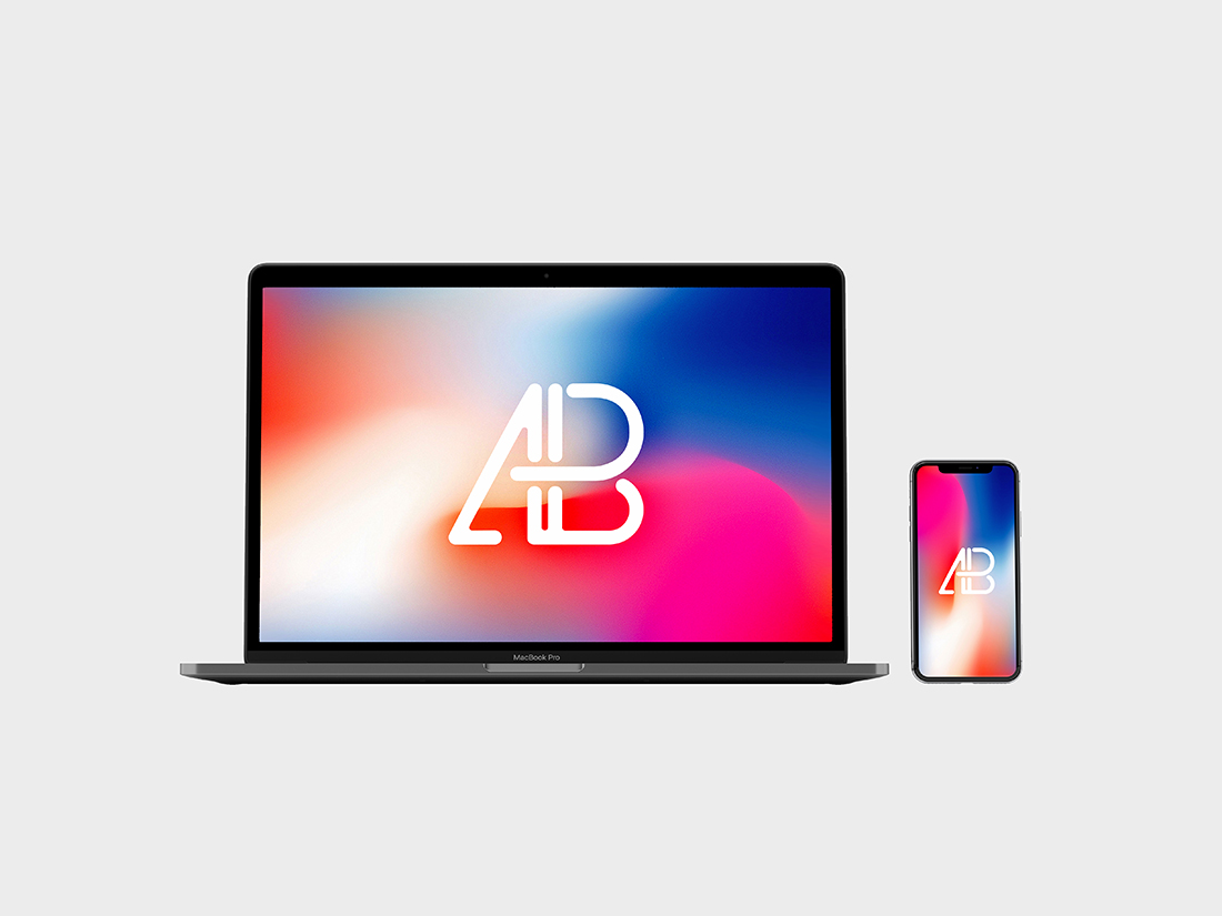 iPhone X ve Macbook Pro Mockup