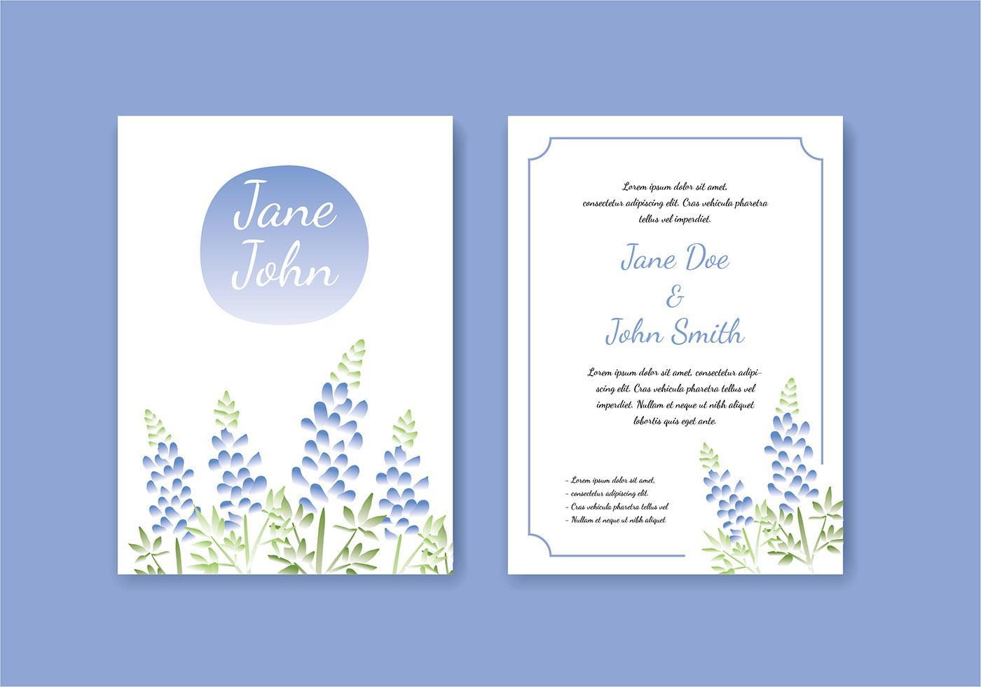 Vektörel Mavi Düğün Davetiye Tasarımı