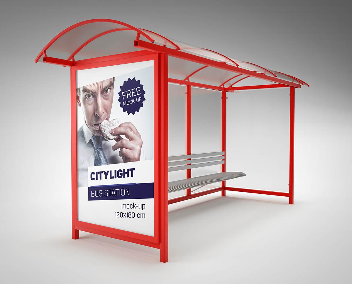 Otobüs Durağı Mockup Tasarımı